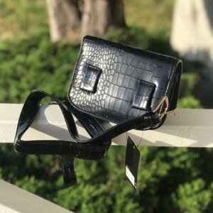 Faux Crocodile Black Leather Belted fanny pack